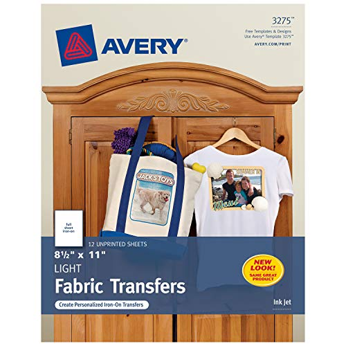 Avery 3275 Iron-On Light Fabric Transfers, 8-1/2 x 11 Inches, Pack of 12 - 03275 ()