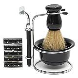 LuckyFine Acrylic 4 in 1 Men's Black Stand Razor Holder For Shaving Bristle Brush Plastic Bowl Mug Travel Set Kit