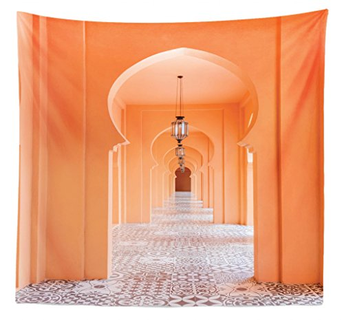 Lunarable Arabian Tapestry Queen Size, Moroccan Walkway Asian Motifs Arabic Artsy Elements Visual Oriental Photo, Wall Hanging Bedspread Bed Cover Wall Decor, 88 W X 88 L Inches, Salmon