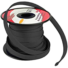 BLACK 1/4 100FT BRAIDED EXPANDABLE FLEX SLEEVE WIRING HARNESS LOOM WIRE COVER by Pipemans's
