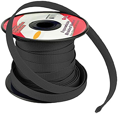 black 3 4 100ft braided expandable flex sleeve wiring harness loom wire cover Car Wiring Harness