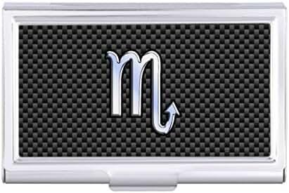 Scorpio Zodiac Sign on Carbon Fiber Decor Card Holder