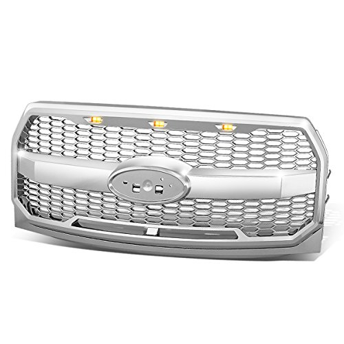 For Ford F150 Chrome Honeycomb Style Mesh Front Bumper Grille w/Shell + LED Lights (Chrome Grille F-150 Ford)