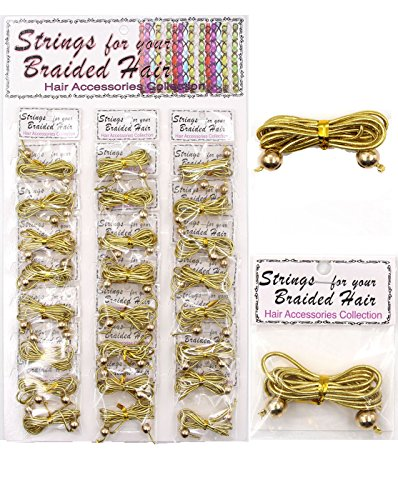 Kumiz GOLD SILVER Hair accessories String for Braid Hair, Pack of 24 (PPT6935GD) -