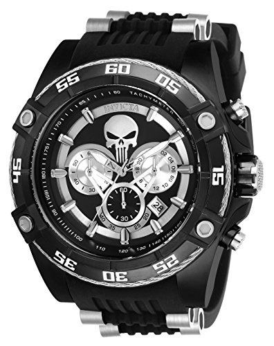 Invicta Men's 'Marvel' Quartz Stainless Steel and Silicone Watch, Color Black (Model: 26859)