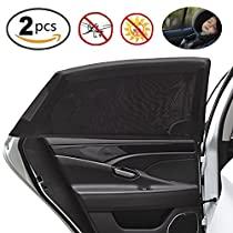 Car Side Window, Manba Car Sunshade Protects Your Kids from Sun Burn, Transparent Mesh Sunshade for Car Rear Side Window, UV Resistant and Sunlight Reflection (2 pcs)