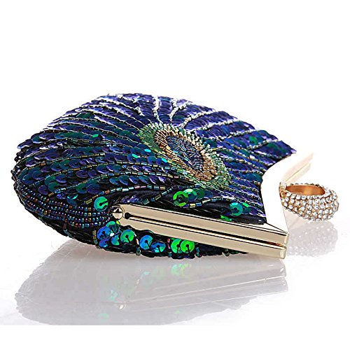 Bag Style Peacock Folk Handbag Blue Wedding Wallet Myleas Beaded Cocktail Women's Party Evening Clutch qxUHU7S