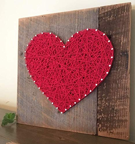 Large Red string art wooden heart gift, sign and plaque. Unique gifts for Weddings, Anniversaries,Birthdays, Valentine