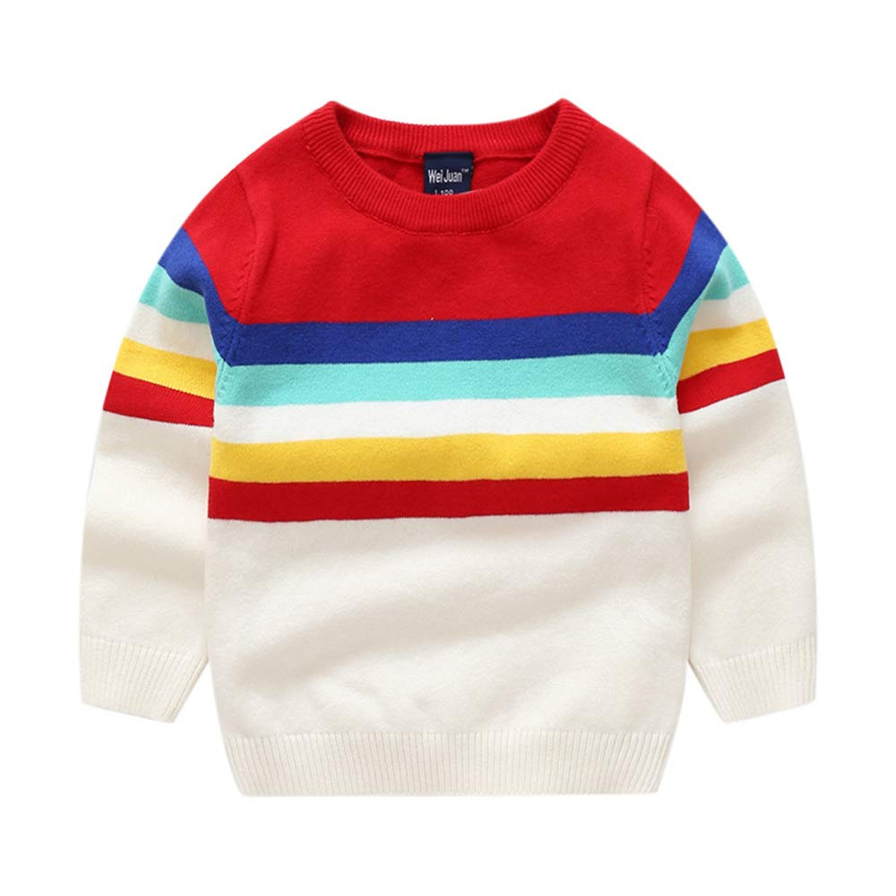 Binghang Baby Toddler Boy Colorful Stripes Sweater Cute Cotton Pullover Sweatshirt