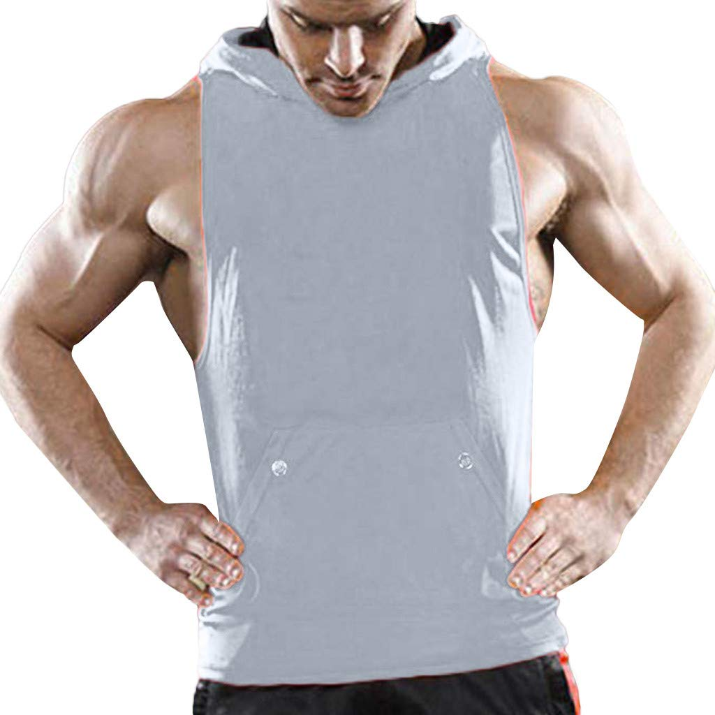 Handsome Men Tank Tops Cut Off Hooded Pocket Muscle Gym Sleeveless T-Shirt Bodybuilding (Gray, M)
