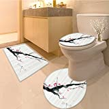 3 Piece Anti-slip mat set Beetle Dragonfly and Bird Shapes over a Angled Bound Triangle Forms Graphic Work Lon Non Slip Bathroom Rugs