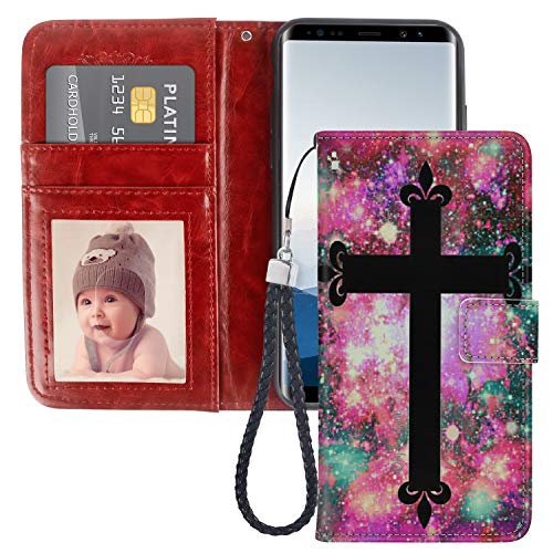 SoLucky Samsung Galaxy Note 8 Wallet Case Colorful Nebula Black Cross PU Leather with Kickstand and Card Slots, Wrist Strap Flip Case for Samsung Galaxy Note 8, 1 Pack ()