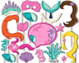 Mermaids Under the Sea Photo Booth Props Kit - 20 Pack Party Camera Props Fully Assembled