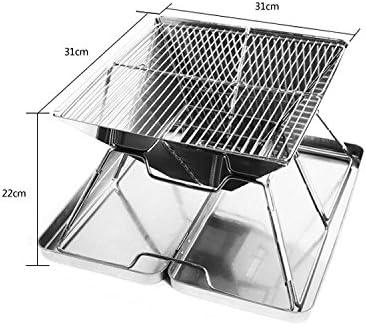 KIYOUMI Pliable Campfire Grill Camping Fire Pit, Mini en Acier Inoxydable Campfire Charbon gaz Grille pour Barbecue