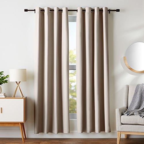 AmazonBasics Room-Darkening Blackout Curtain Set with Grommets - 52 x 84, Taupe