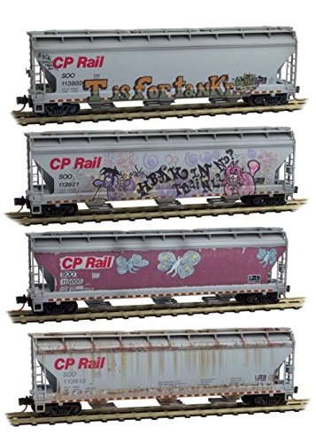 Micro-Trains MTL N-Scale Covered Hoppers Soo Line/CP Rail Graffiti/Weathered 4Pk