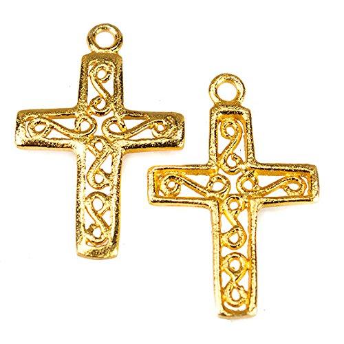 28x18mm 22kt Gold Plated Filigree Cross Charm Set of 2 ()