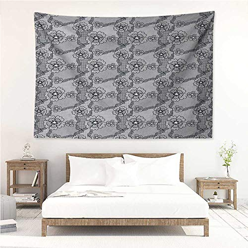 Dark Grey,Hanging Tapestry Black Lace Style Pattern with Blossoms Victorian Gothic Flowers Bridal Print 72W x 54L Inch Multi Functional Hanging Blanket Black White