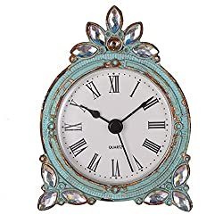NIKKY HOME Vintage Pewter Quartz Table Clock with Crystal Shining Rhinestone, 2.87 x 1.37 x 3.87 Inches, Aqua