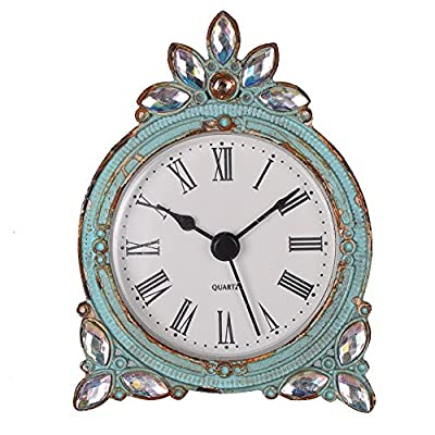 NIKKY HOME Vintage Pewter Quartz Mini Table Clock with Crystal Shining Rhinestone, 2.87 x 1.37 x 3.87 Inches, Aqua - Body is made of pewter, features a hollow out design back cover, set with shining rhinestone Painted in distressed aqua to give a vintage look, country style inspired Measures 2.87 x 1.37 x 3.87 Inches, require one N-Size battery (not incluced in package). - clocks, bedroom-decor, bedroom - 51gSxjfBzLL. SS400  -