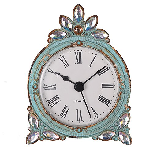 NIKKY HOME Vintage Pewter Quartz Mini Table Clock with Crystal Shining Rhinestone, 2.87 x 1.37 x 3.87 Inches, Aqua ()