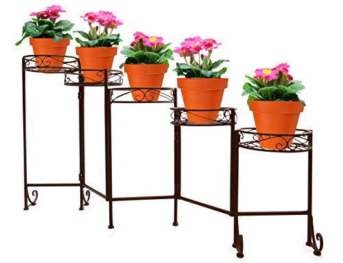Birdcage Plant Stand - Sorbus 5-Tier Flower Plant Stand - Multi-level Flower Pot Holder for Home, Garden, Patio, Plant Lovers, Housewarming, Mother's Day, Foldable (Bronze)