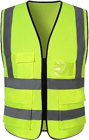 DBSCD Sicherheitsweste f/ür M/änner Blaue Warnweste Atmungsaktives Netz Arbeitskleidung mit Mehreren TaschenReflektierende Sicherheitsweste
