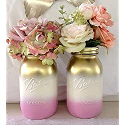 Set of 2 Gold, Antique White, and Blush Pink Mason Jars Centerpieces, Gold Decorations, Gold Wedding, Pink and Gold Bridal Shower, Pink and Gold Vase
