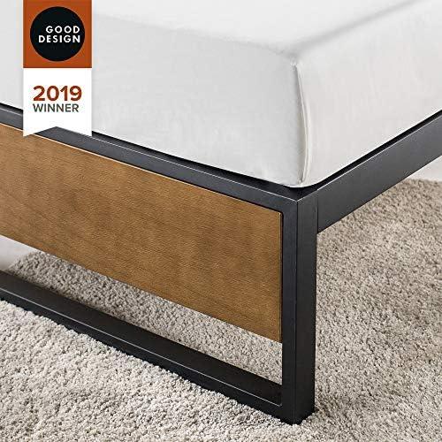 ZINUS GOOD DESIGN Award Winner Suzanne 14 Inch Metal and Wood Platforma Bed Frame / No Box Spring Needed / Wood Slat Suport, Brown, Queen 51gSxzji 2BqL
