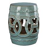 Moroccan Rustic Teal Ceramic Garden Stool