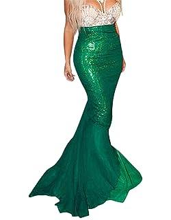 a79b60f32 beautyjourney Faldas de Sirena largas y Brillantes de Mujer Faldas ...