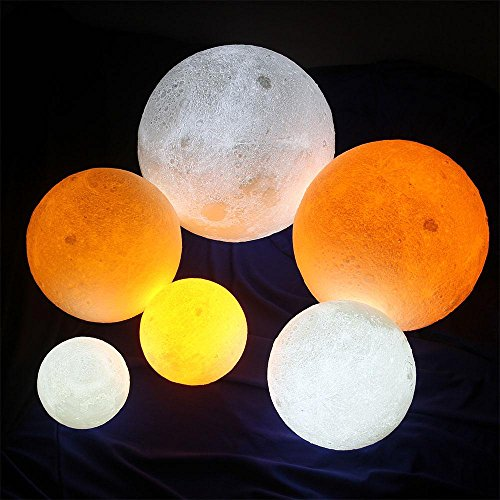 3D Moon Lamp, niceEshop(TM) 7 Colors LED Printing Lighting Night Light Warm Lunar Lamp with Dimmable Touch Control, USB Charging, Wood Holder for Home Decoration & Christmas, Birthday Gifts, 3.14in by niceeshop (Image #2)