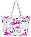 Leisureland Large Beach Tote Bag, Top Zipper Boat Bag (Flamingo)