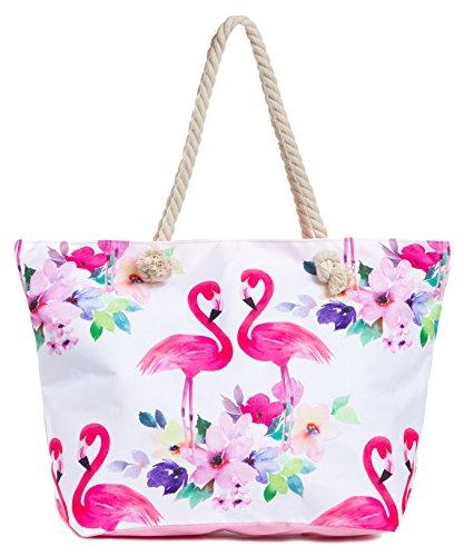 Leisureland Large Beach Tote Bag, Top Zipper Boat Bag (Flamingo)]()