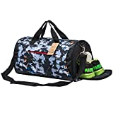 Kuston Sports Gym Bag with Shoes Compartment Travel Duffel Bag for Men and Women (Meteor Blue)