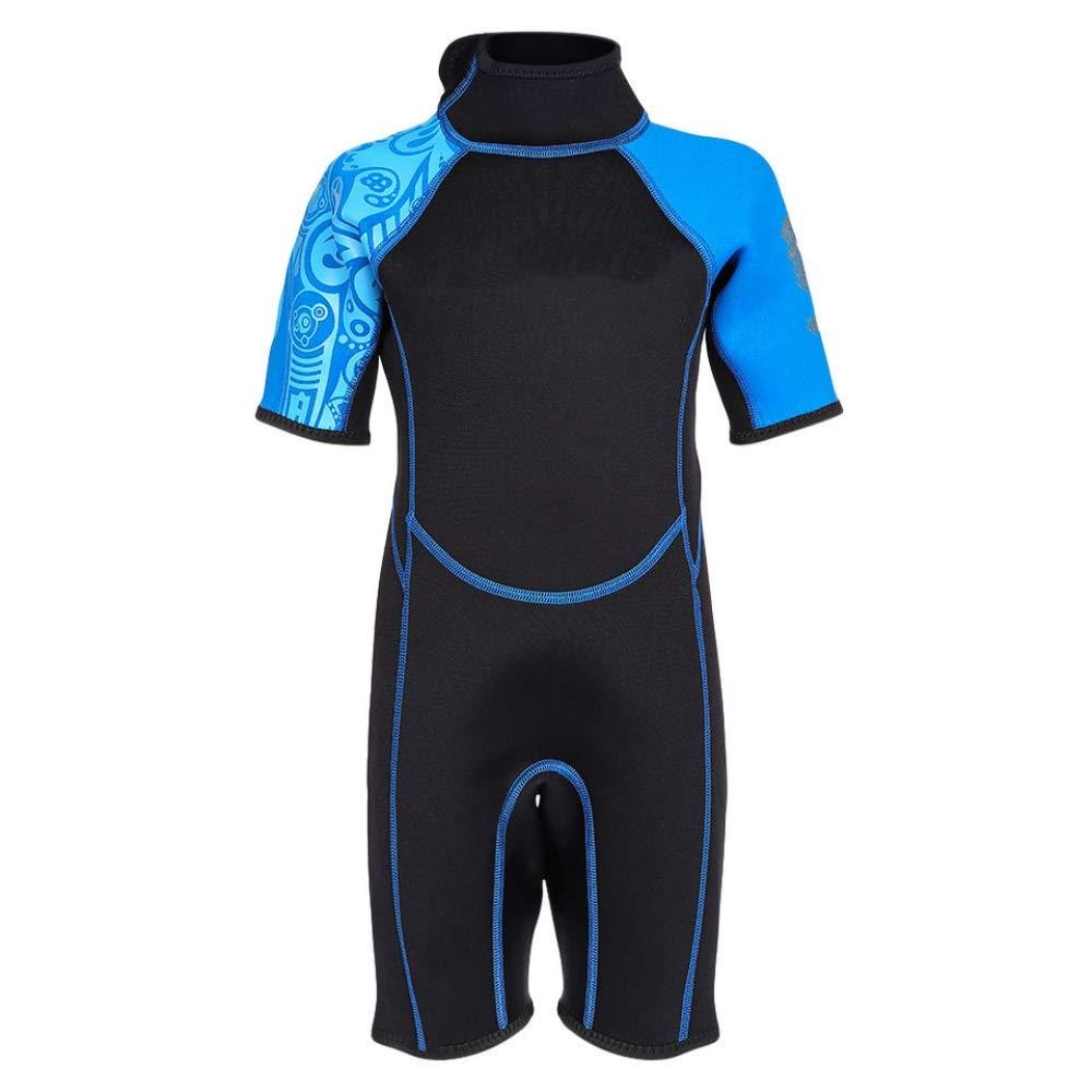 Bleu XL QSFDM Costume de plongée 2mm Enfants Plongée Combinaison à Manches Courtes Combinaison Néoprène Enfant Maillot De Bain Une Pièce Garçons Filles Prougeection Thermique Combinaison