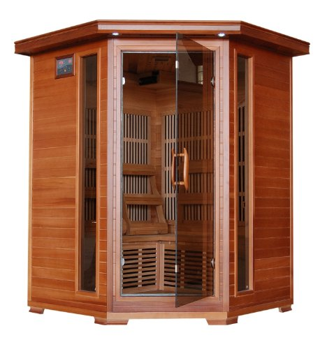 3 Person Sauna Corner Fitting Red Cedar Wood Infrared FIR FAR Carbon Heaters Walls and Floor Heater - Stereo CD Player MP3 Plug-in - Model (3 Person Corner Infrared Sauna)