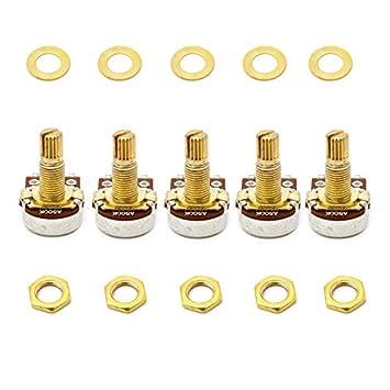 sanhype (TM) 5 piezas A500 K OHM Audio Mini ollas guitarra potenciómetro para guitarra eléctrica dorado: Amazon.es: Deportes y aire libre