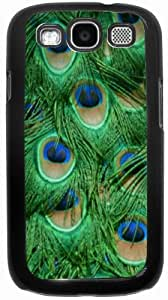 Rikki KnightTM Green Peacock Feathers - Black Hard Case Cover for Samsung? Galaxy i9300 Galaxy S3