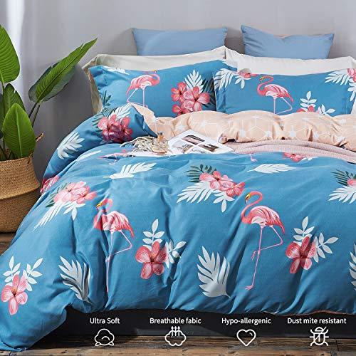 Top Finel Queen Duvet Cover Setwith Zipper Closure Ultra Soft Microfiber 3 Piece Set Comforter Cover with 2 Pillow Shams Flamingo Pattern ()