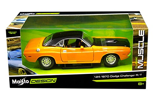 New 1:24 W/B CLASSIC MUSCLE - ORANGE 1970 DODGE CHALLENGER R/T Diecast Model Car By Maisto