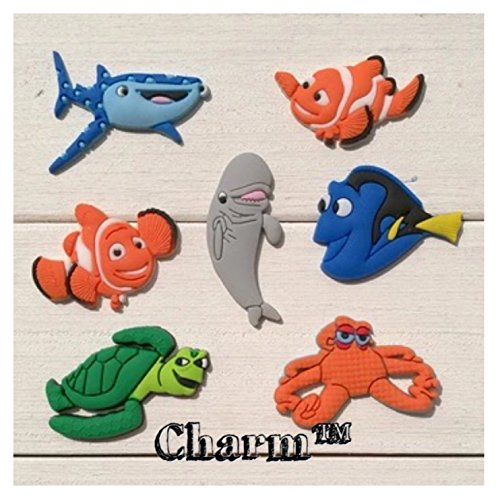 Finding Nemo Dory (Finding Nemo Dory Set of 7 Jibbitz PVC Crocs Natives (Generic) Birthday Party Favors by CharmTM)
