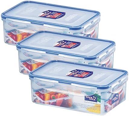 13.5cm x 10.2cm x 6.9cm Pack of 6 Semi-Transparent Lock /& Lock Almacenamiento de Alimentos herm/ético Rectangular Polipropileno Silicona