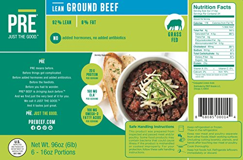 Taste The ObsessionTM - PRE 100% Grass Fed Beef - 6 x 1 lb. 92% Lean Ground Beef from New Zealand
