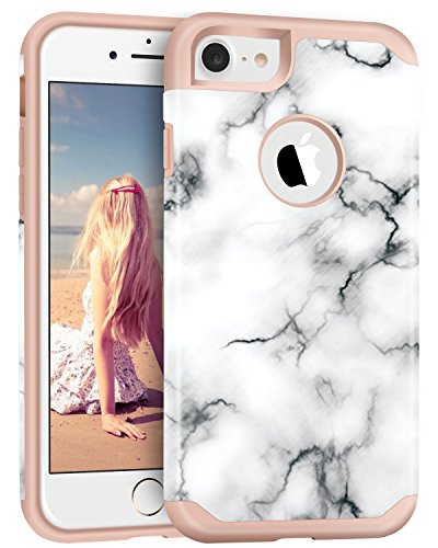 iPhone 7 Case, ImikokoTM Hybrid Protective Soft Silicone with Hard White Marble Case Shock Absorbing Slim Thin Cute Case Cover Plastic Shell for iPhone 7 (White Marble/Rose Gold)