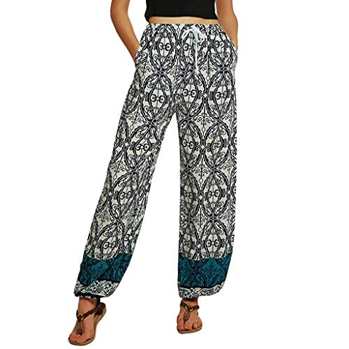 CICIYONER Mujer de Cintura Media Casual Estampado Floral Pantalones de Yoga Boho Pantalones Harem Pantalones de Jogging Blanco