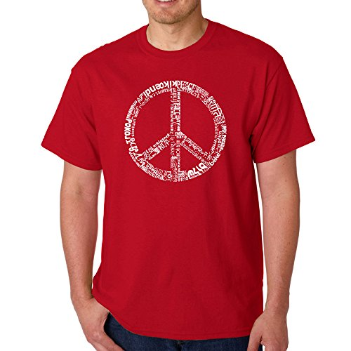 Men's Graphic Novelty T-shirt Tees American Apparel Soft Fine Cotton - The Word Peace in 77 Languages - Red - - Red Upgrade T-shirt