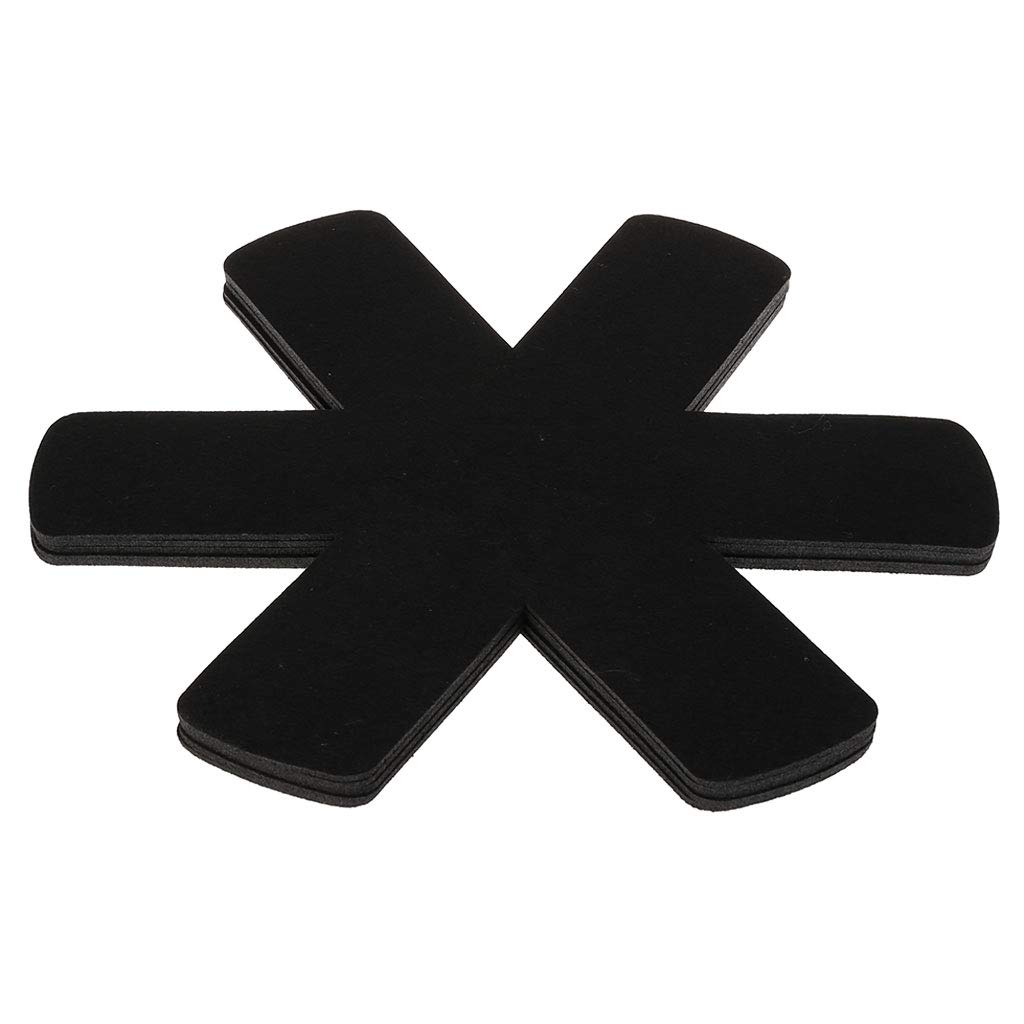 Poity 5 Pc Pot Mat Protector Anti-Slipping Anti-Scratching Insulation Kitchen Supplies Black Diameter: app.38cm/14.96in