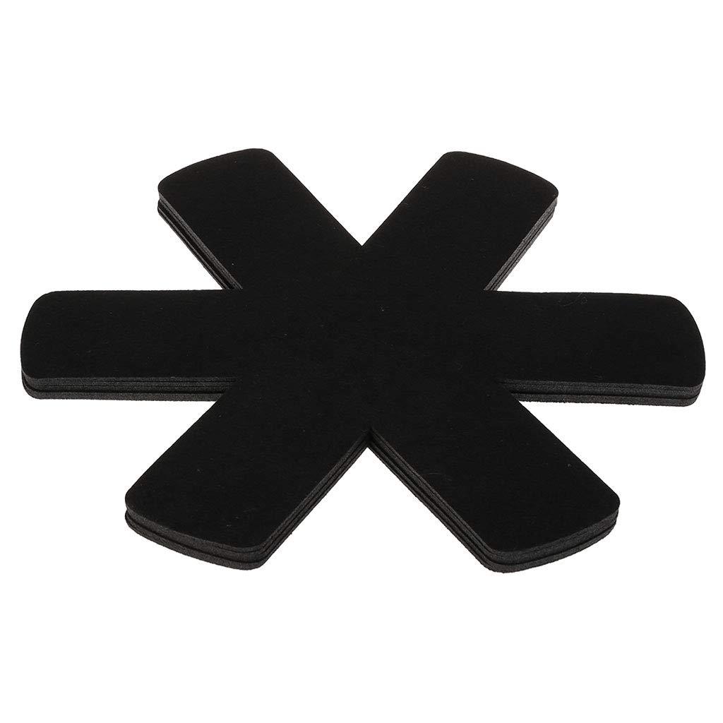 LANDUM 5 Pc Pot Mat Protector Anti-Slipping Anti-Scratching Insulation Kitchen Supplies Black Diameter: app.38cm/14.96in