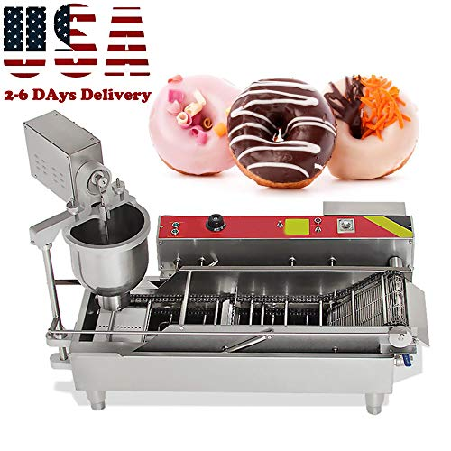 Genmine Automatic Donut Making Machine Commercial Electric Auto Doughnut Donut Maker Machine Auto Donuts Frying Molding Turning Collecting Fryer Factory 7L 110V (Can Making 3 Size Donut) (US IN STOCK)